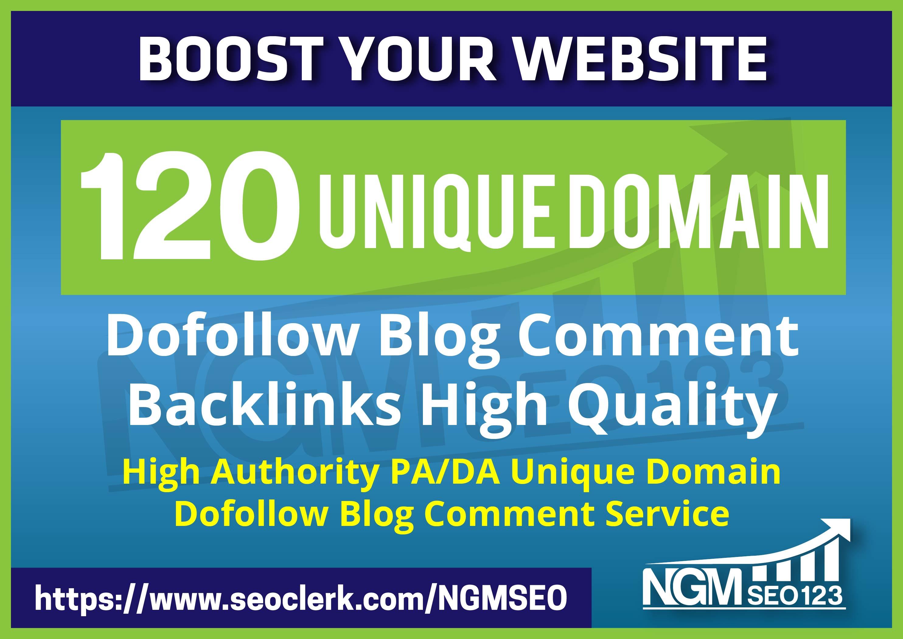 Provide 120 Unique Domain SEO Backlinks on tf100 da100 sites