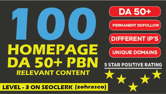 Build 100 PBN - HIGH QUALITY HOME PAGE PBNs With DA 50+ lowest spam score GUARANTEED