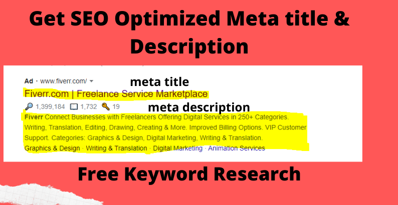 Google 1st page ranking with SEO optimized meta title and description