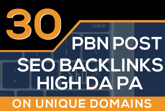 Build 30 PBN Contextual Seo Backlinks High DA PA ON Unique Domains