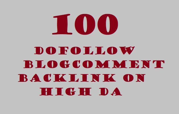 I will do 100 blogcomment dofollow backlink Da 40+