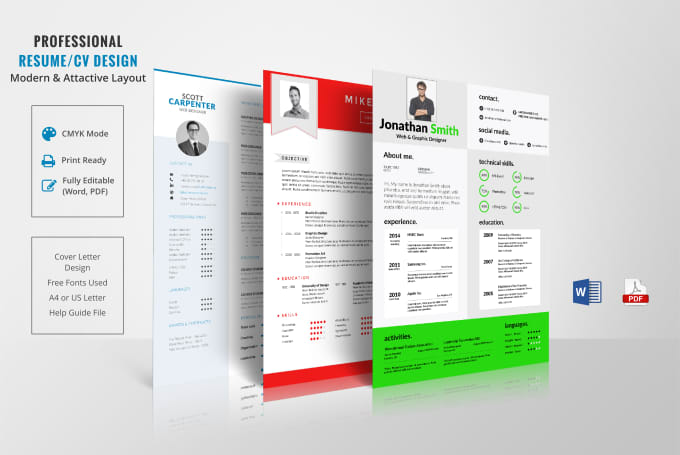 I will create an attractive professional resume CV, and cover letter