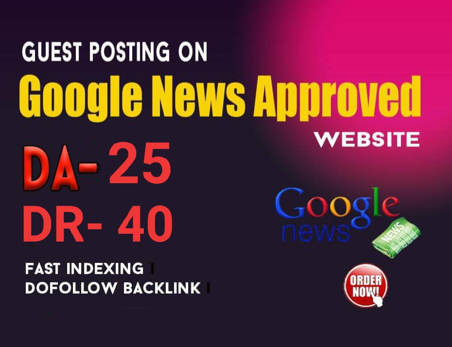 I will guest post on my google news approved dr 40