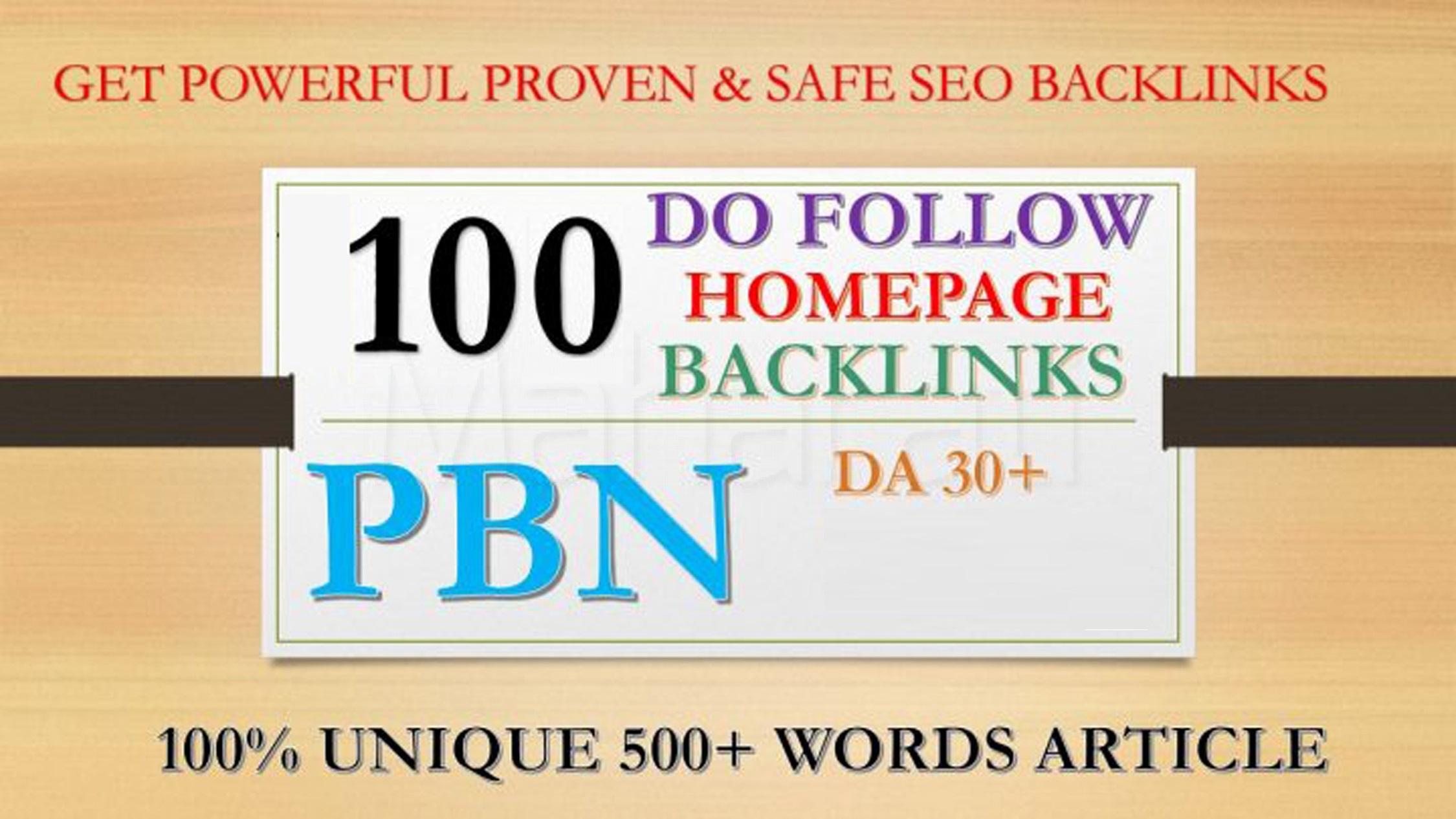 100 Permanent Da 30+ high quality PBN Dofollow Backlink
