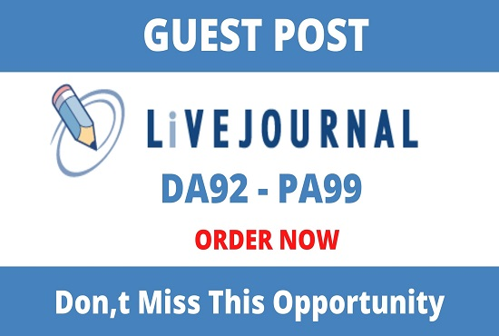 DA93+ Publish Guest Posts On Livejournal- Livejournal. com