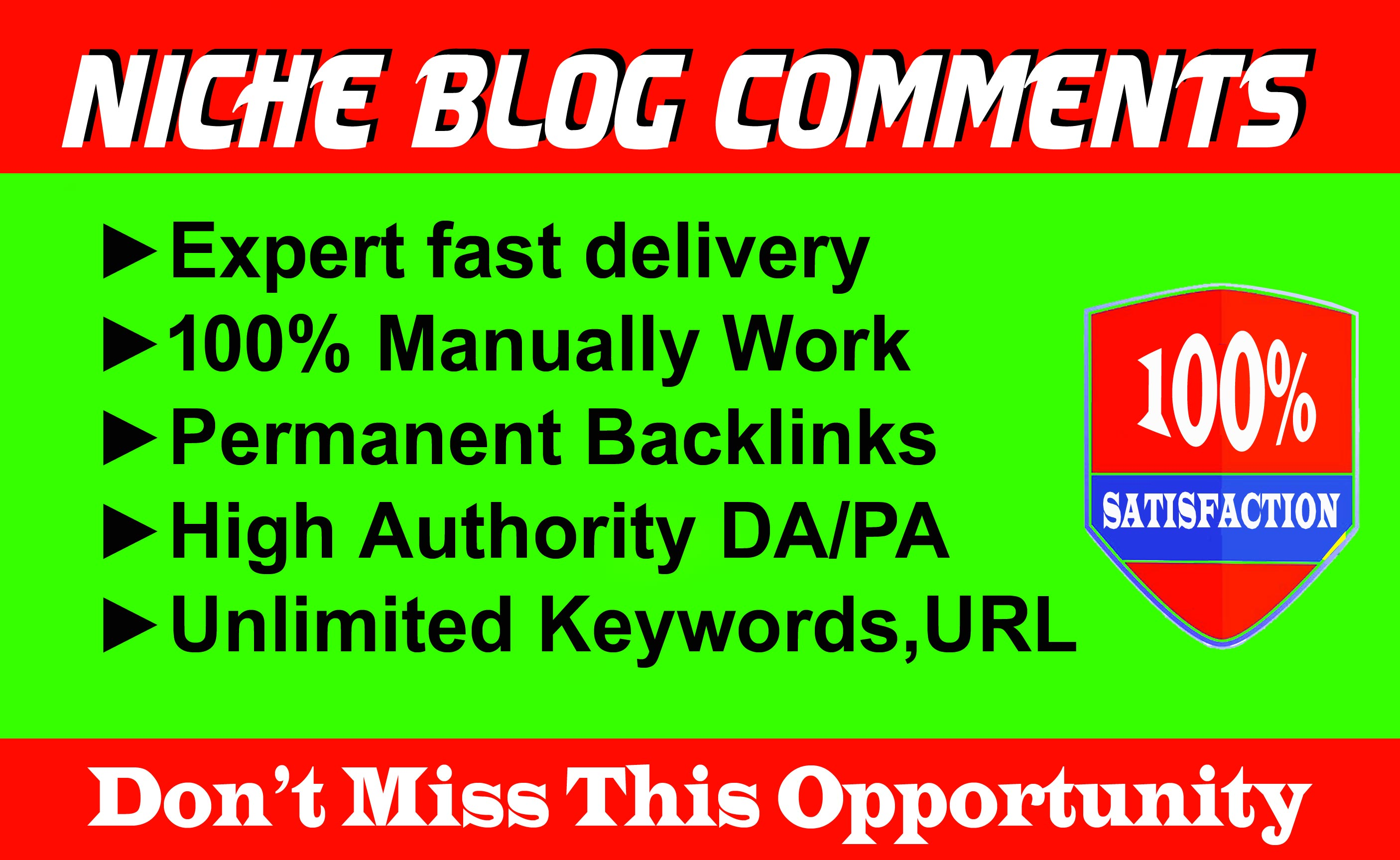Provide 100 Niche Relevant Blog Comments Backlinks