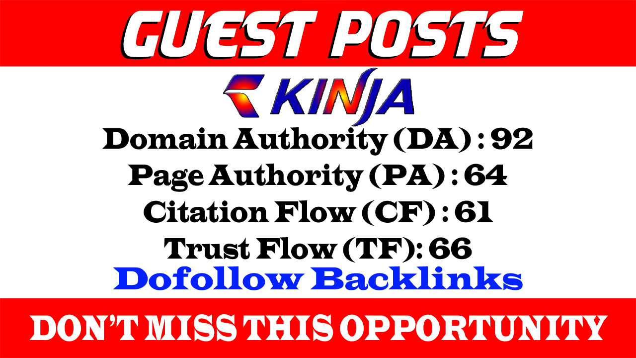 Write And Publish A Guest post on Kinja,  Kinja. com DA 92 With Dof0llow link