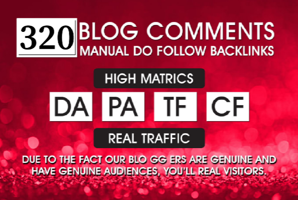 320 DoFollow Blog Comments Backlink DA PA TF CF Moz Autority