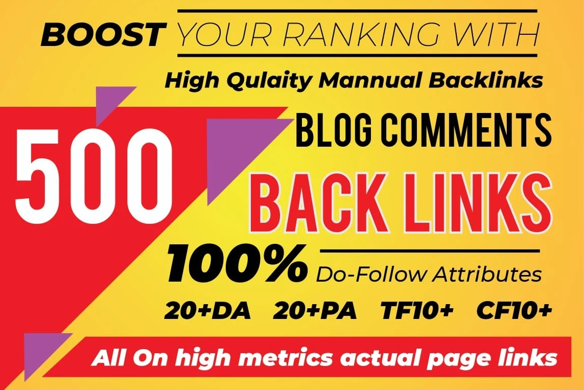 I will do 500 unique trust flow blog comment manual on good ranking sites