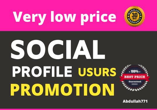 Add High Quality Super Fast Organic Social profile Promotion and 30 Day Refill