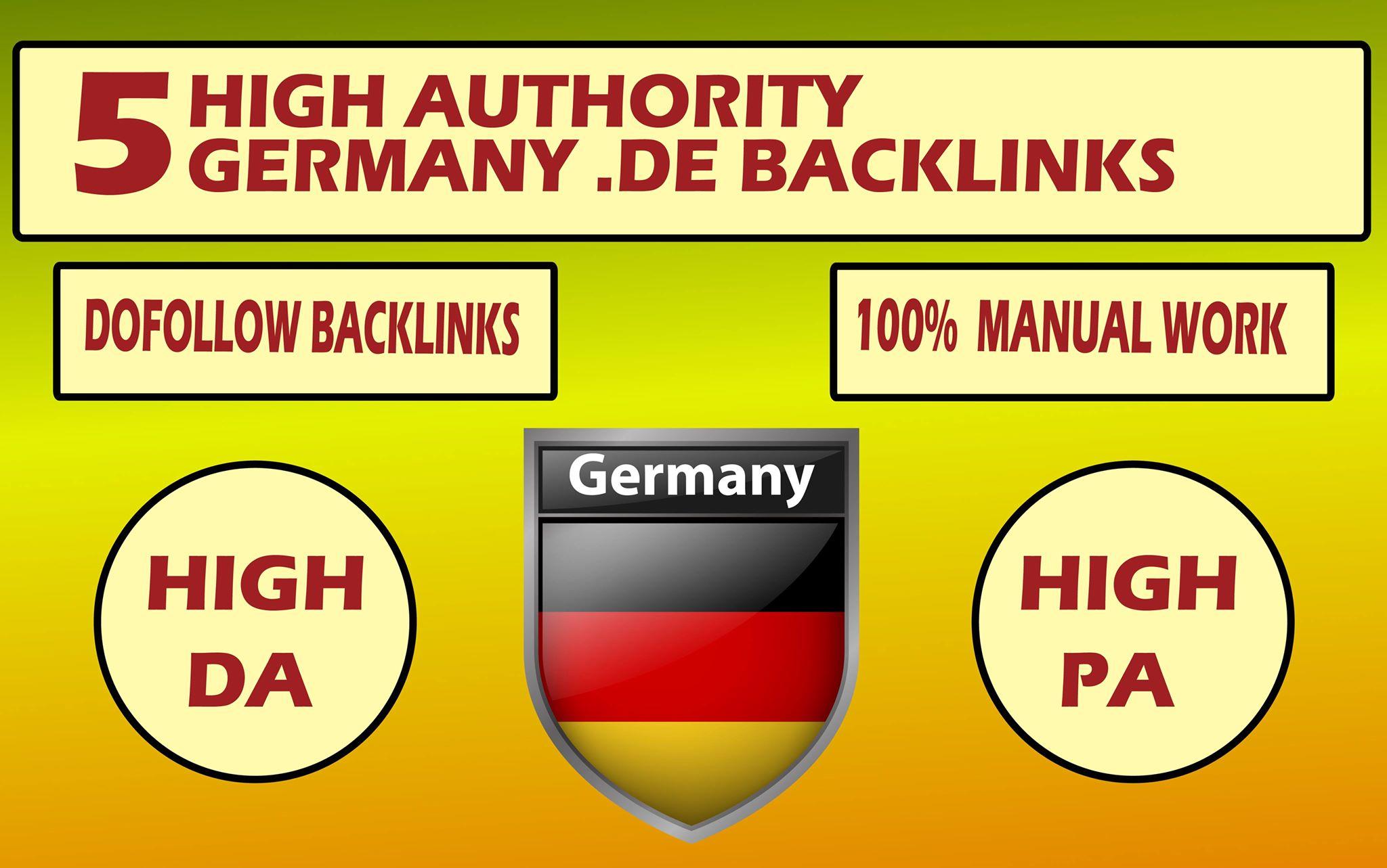 provide 5 germany blog dot de backlinks with high da