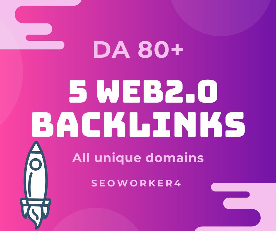 I Will Manually 5 Create HQ Super Web 2.0 Backlinks DA 80+