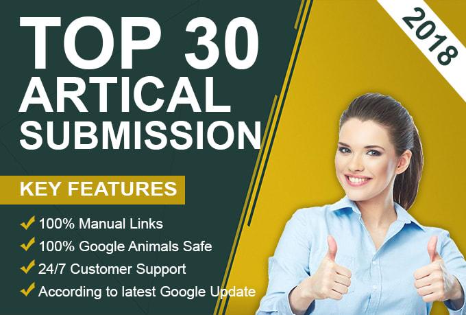 provide 30 article submission unique domain backlinks