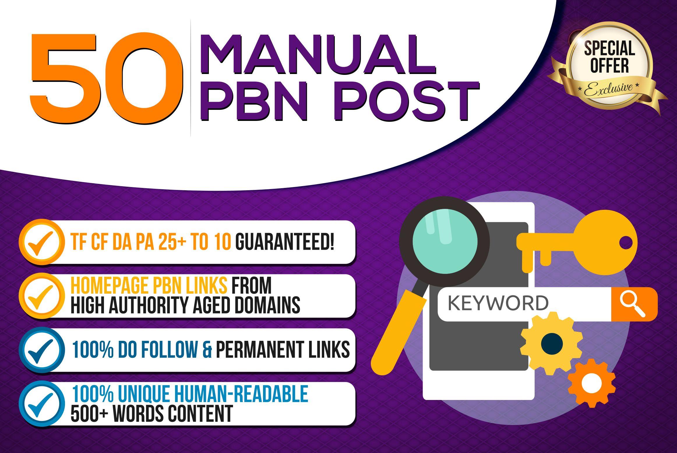 Provide you 50 Permanent Manual High DA 55+ PBN Backlinks