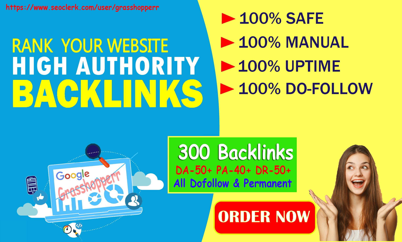 I Will Provide DA50+ PA40+ DR50+ 300 Homepage web2.0 Backlink Permanent Dofollow With unique website