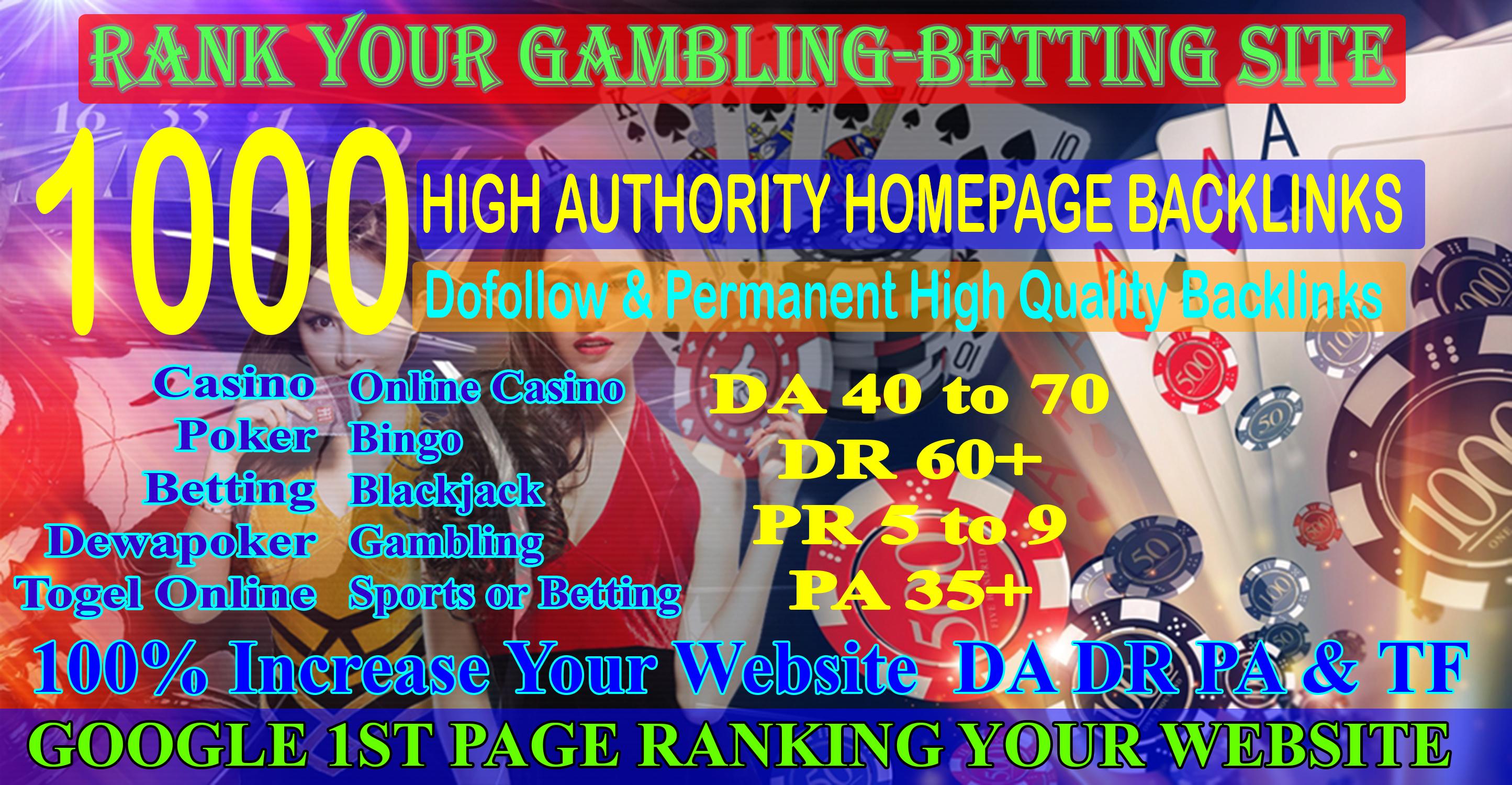 1000 Casino Backlinks for Gambling Poker Sports Betting Online Casino sites DA70 DR60+