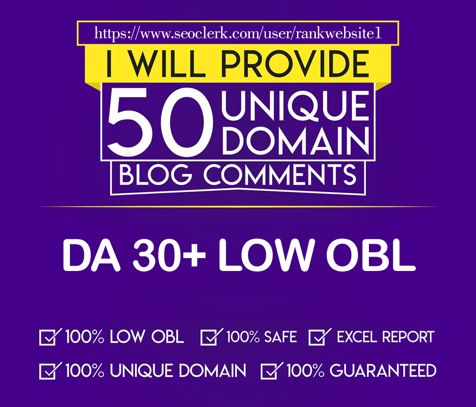 I will do DA30+ 50 Unique Domain With Low OBL