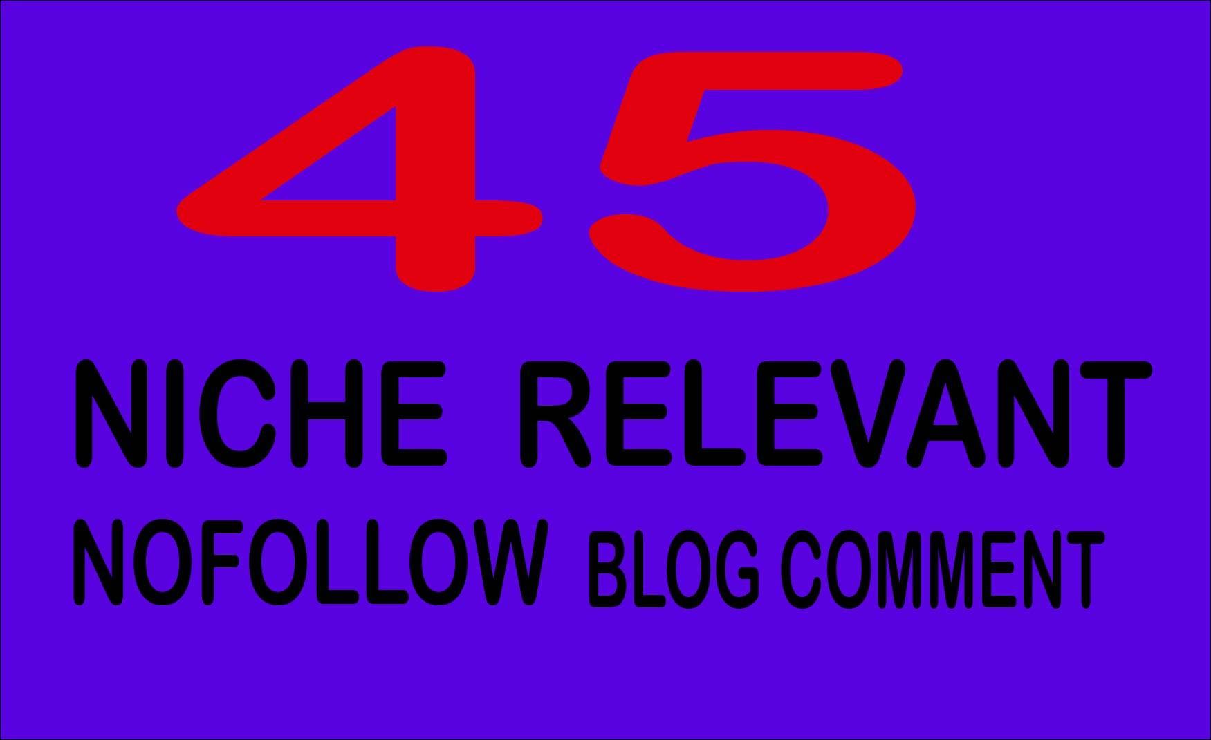 I will create 45 nofollow niche relevanted blog comments