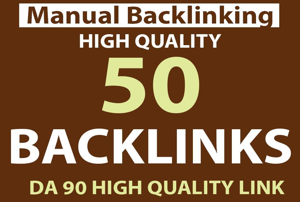 Index Guarantee 50 Manual Backlinks on High DA 90 to 100 sites