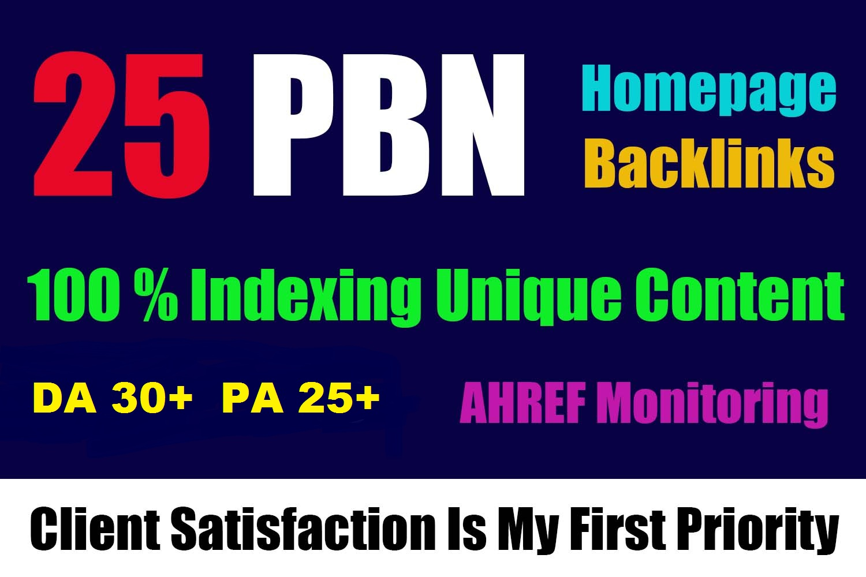 25 High Quality DA Homepage Dofollow PBN Backlinks