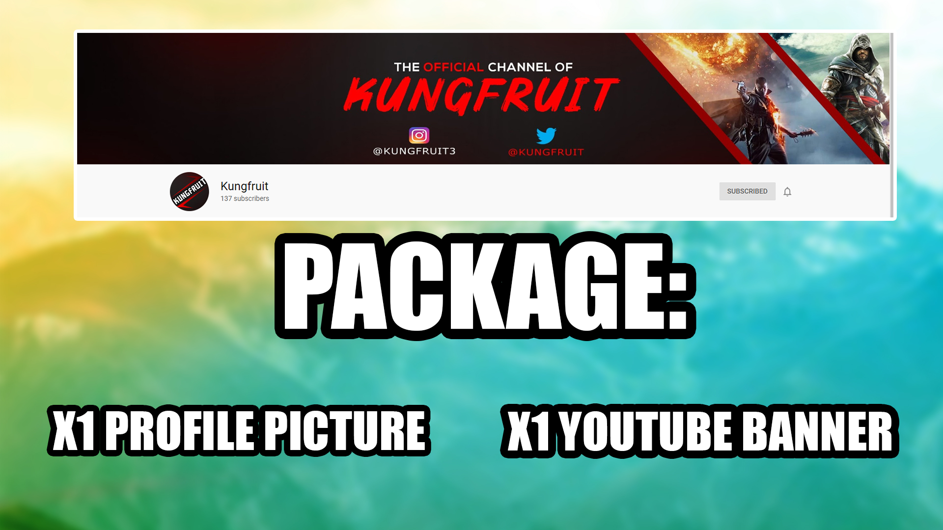 I will make you a package consisting of a youtube banner and profile picture.