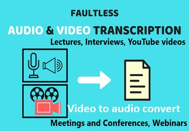 i will do audio and video transcription in any language in text convert video to audio