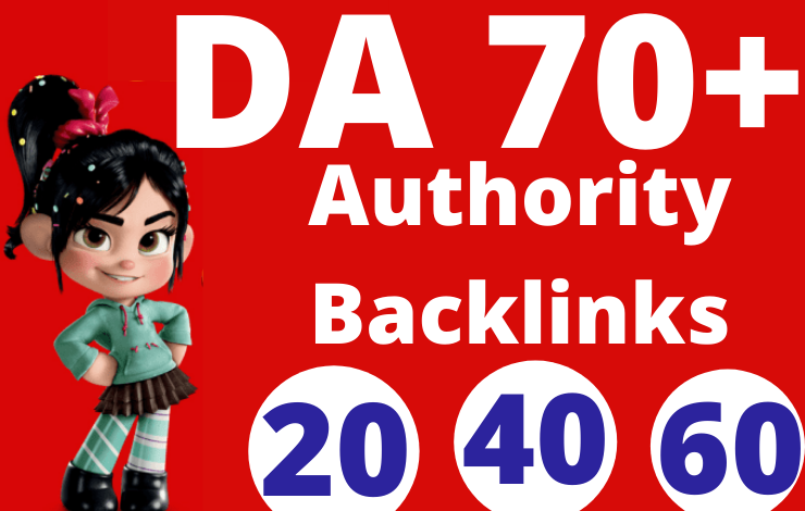 20 Authority Backlinks DA 70 Plus Quality SEO Dofollow