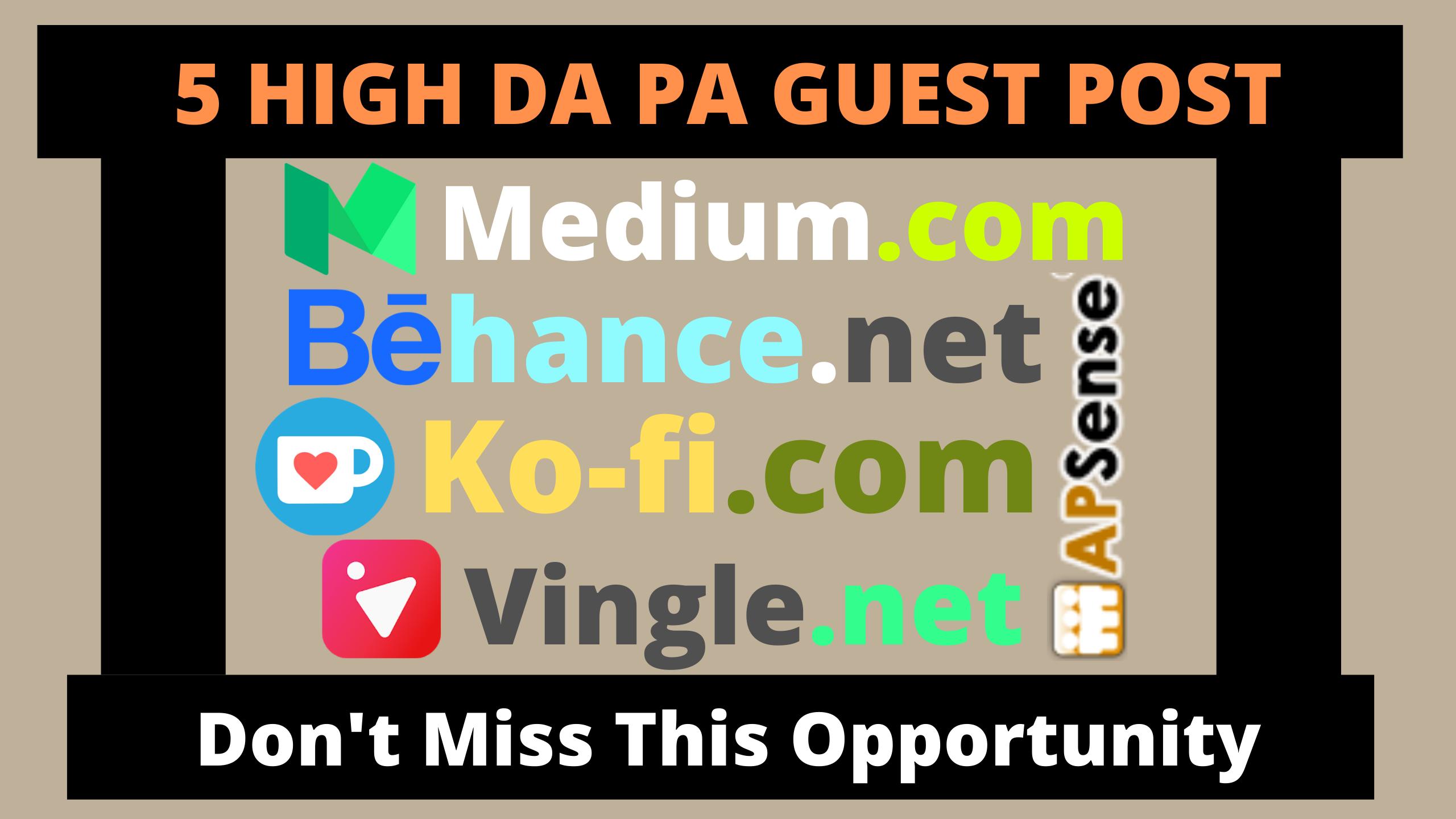 Publish 5 Guest Post On Medium,  Behance,  Ko-fi,  Vingle,  Apsense With Permanent Backlinks