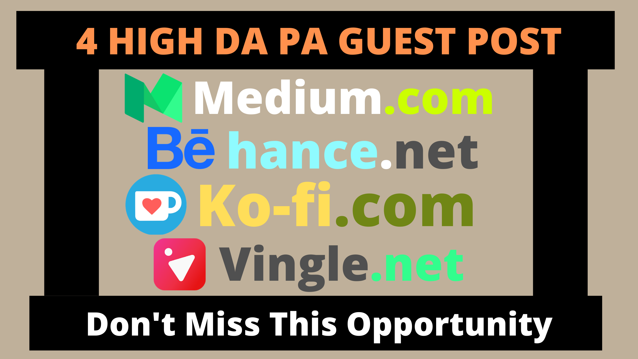 Publish 4 Guest Post On Medium,  Behance,  Ko-fi,  Vingle With Permanent Backlinks