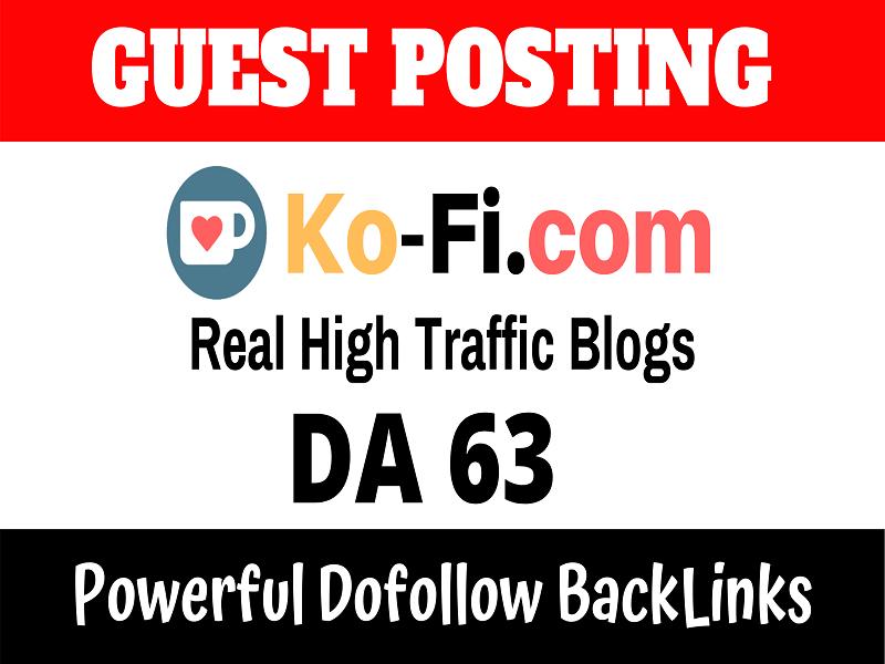 Publish Guest Post On DA63 Ko-fi. com Real Traffic 2.50M