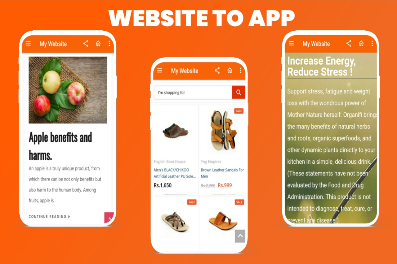 Convert website to an android app Get your website app