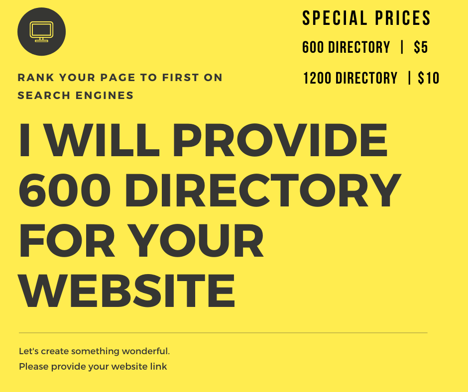 I will create 600 do follow directorys for your website