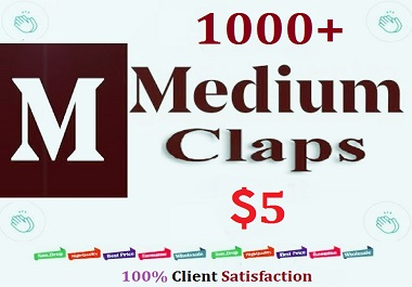 1000+ Medium Claps Non Drop Guarantee Lifetime