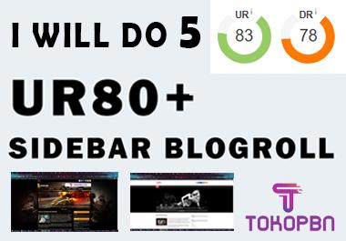 I will do 5pcs UR 80+ PBN Sidebar Blogroll