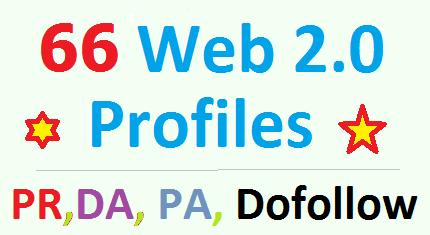 66 unique Web 2.0 profile backlinks according to your keywords