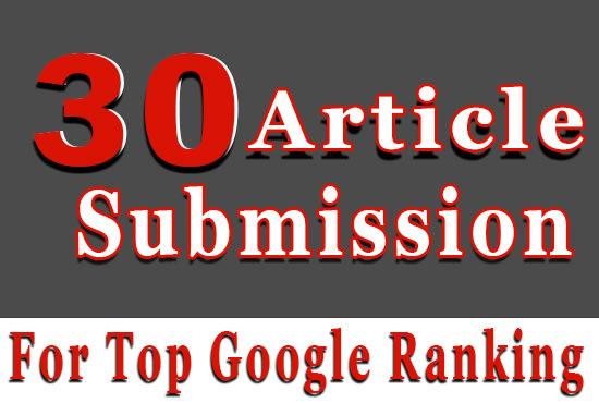 provide 30 article submission 35+ high DA