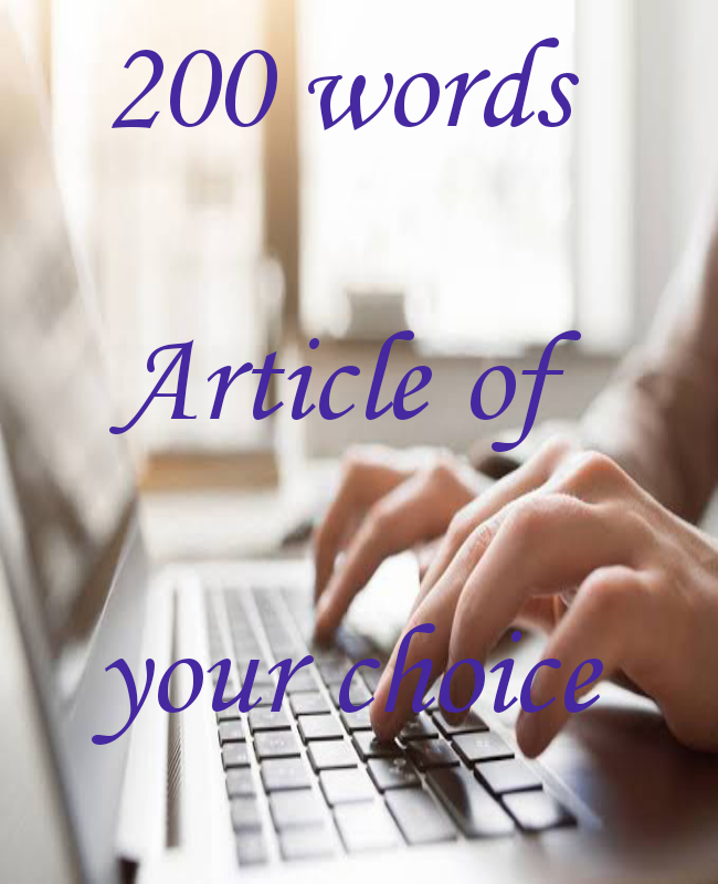 200 words article of your choice