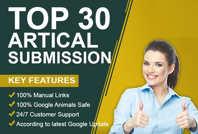 I will do 30 unique article submission with unique domain backlinks