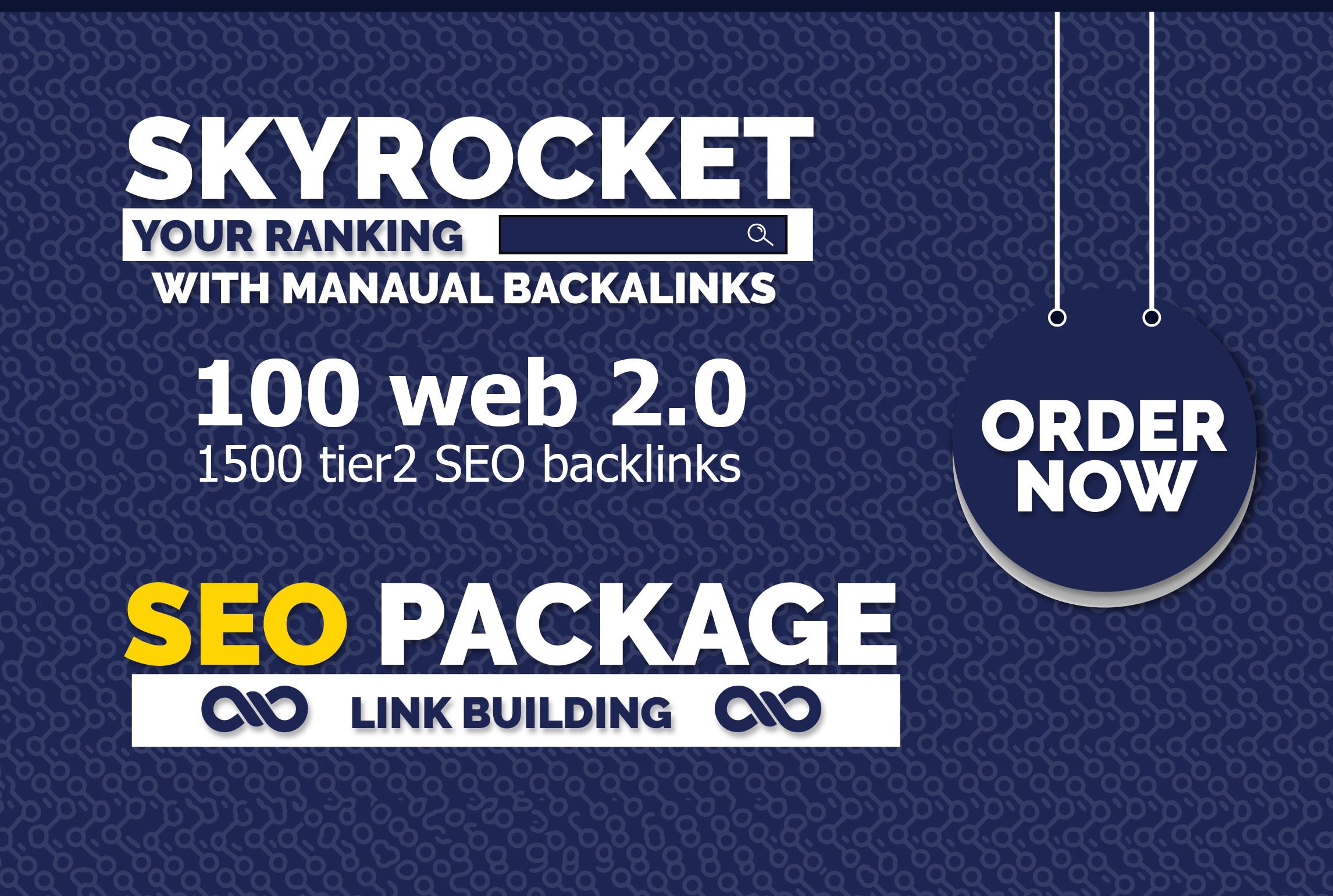 100 web 2.0 link building,  1500 tier2 SEO backlinks