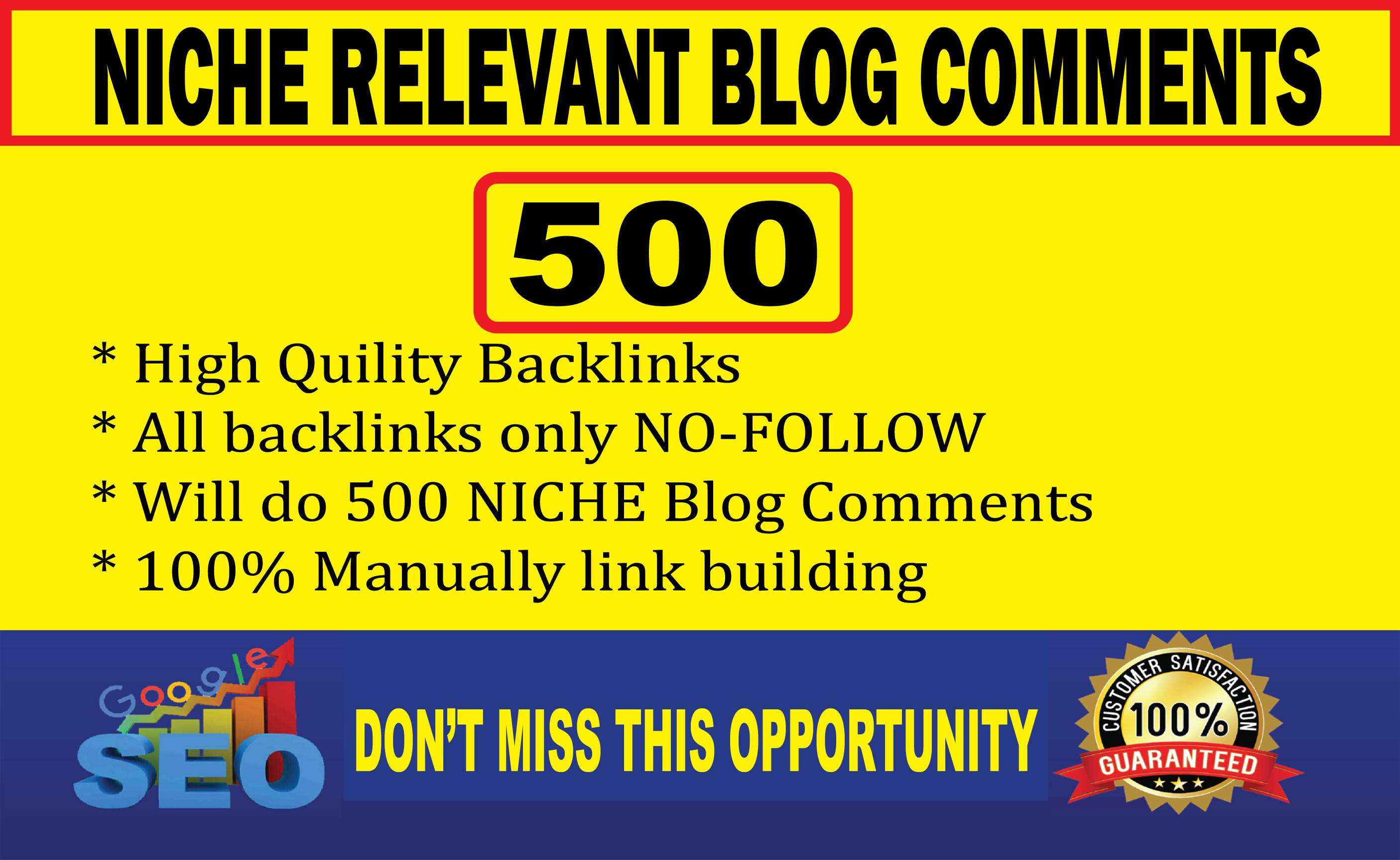 I will make 500 high quality niche relevant blog comments backlinks