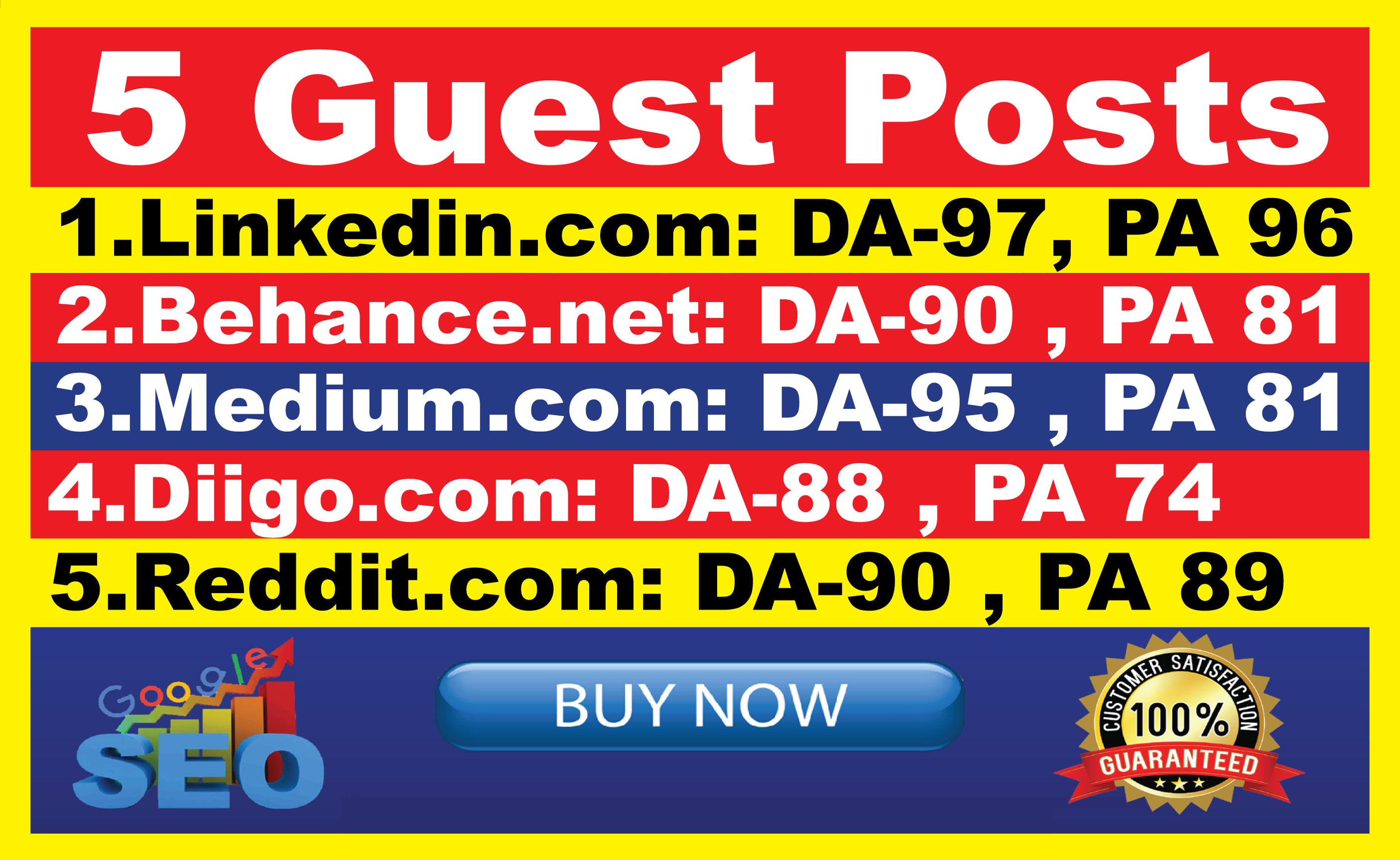 Write And Publish 5 Guest Post On Reddit,  Medium,  Behance diigo,  linkedin DA90+ permanent backlinks