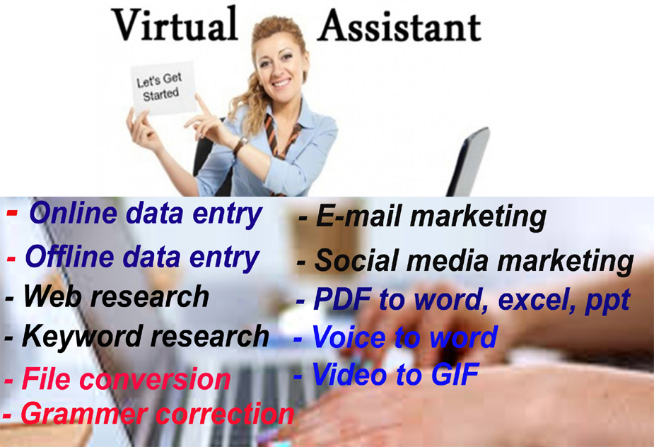 I will provide excellent work as a virtual assistant