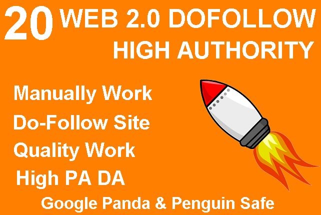 Provide 20 Web 2.0 DoFollow High Authority Backlinks