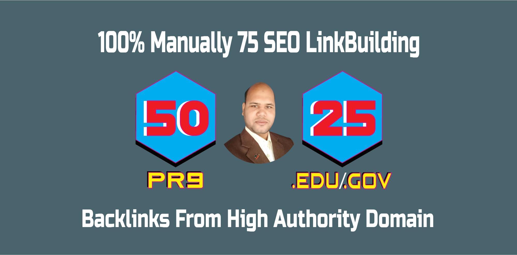 50 PR9 + 25 EDU GOV Backlinks From HQ Domains