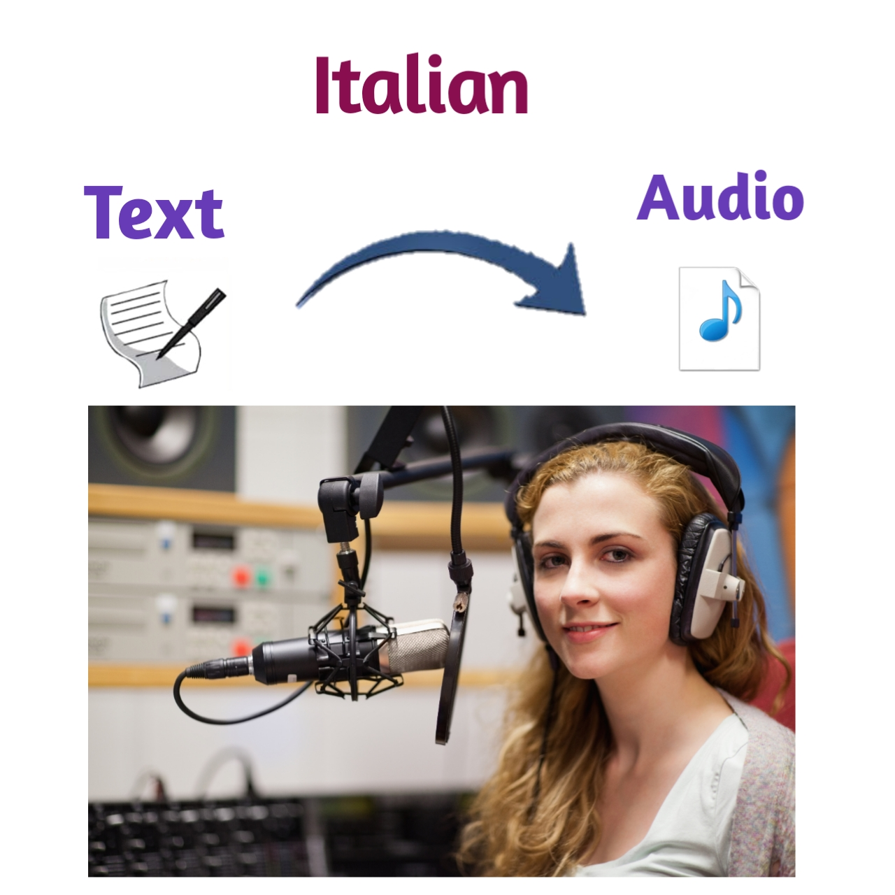 I will convert your text in a Italian accent male or female voice-over