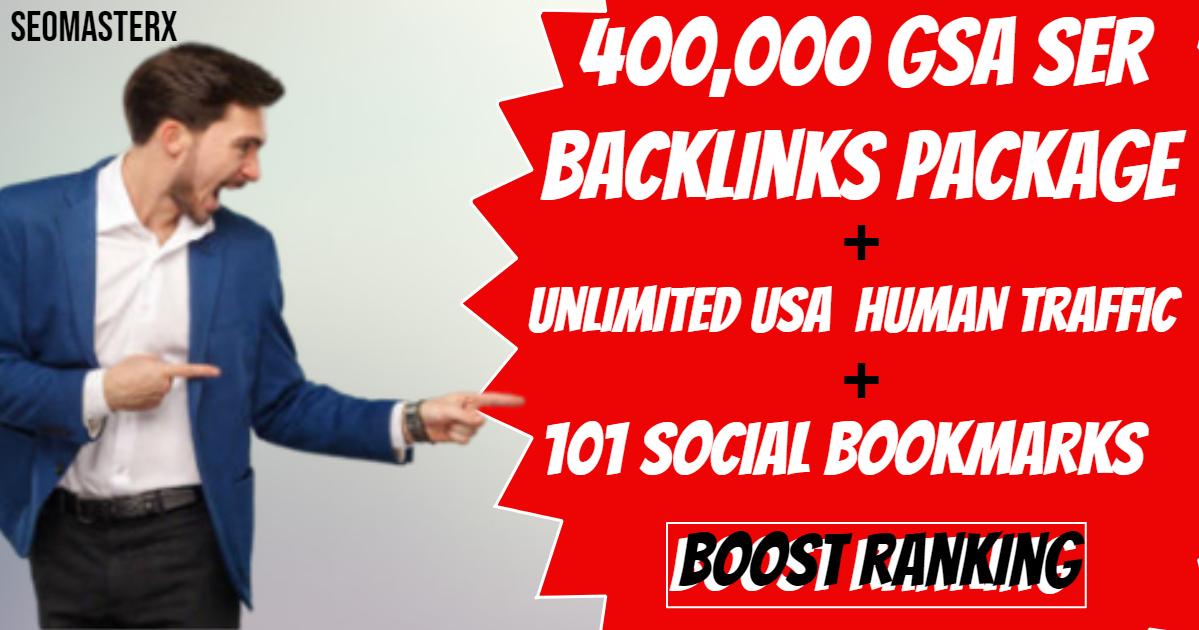 400,000 GSR Backlinks + Unlimited USA Human Traffic + 101 Social Bookmarks