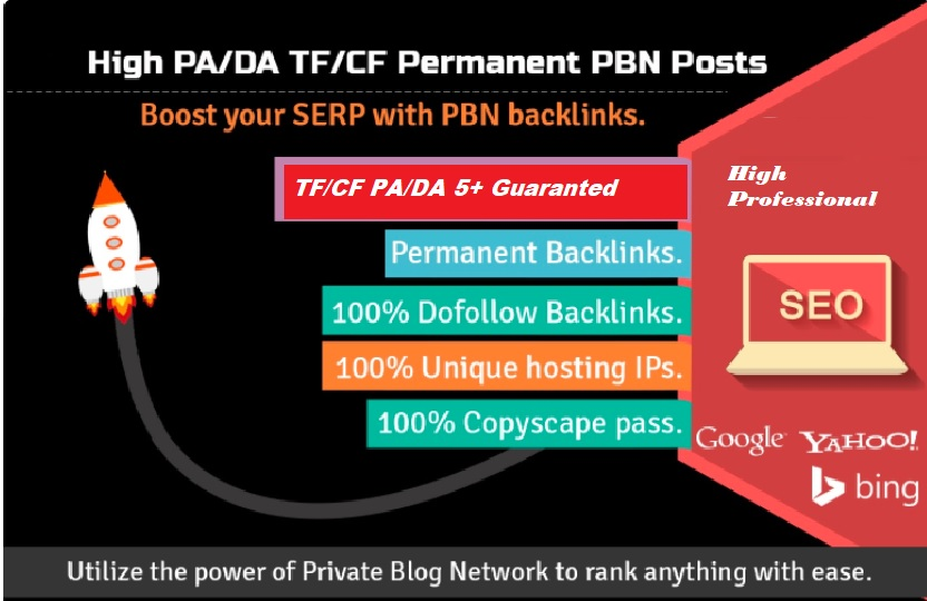 Create 5 High DA 30 to 50+ PBN Backlinks/PBN links for SERP To Improve Your Google Ranking