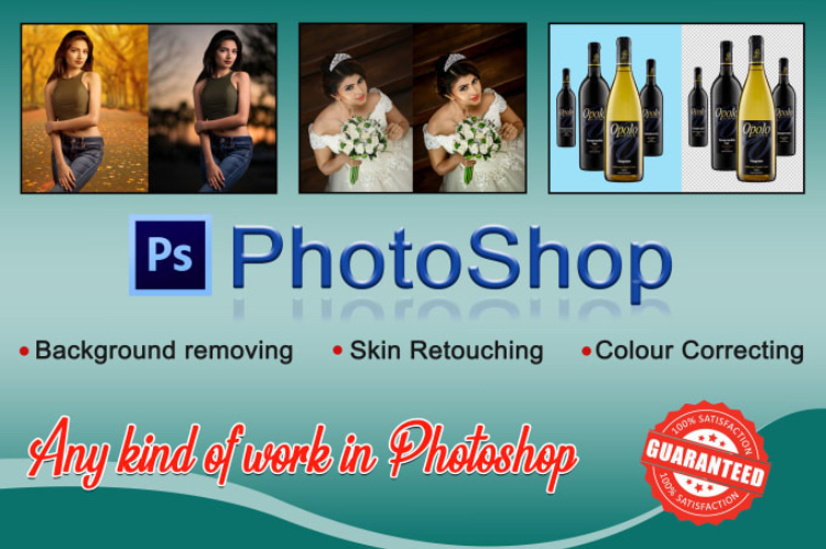 Photo editing,  background removing and skin retouching