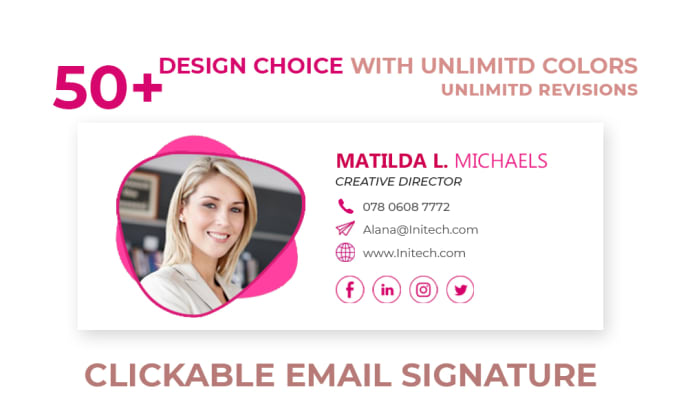 I will create professional clickable email signature