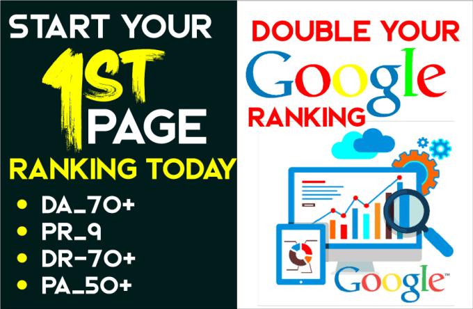 Create manual double your webside ranking with pr9 da70 plus seo dofollow backlinks